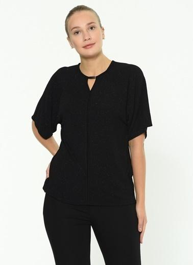 Selen Selen Siyah Simli Bluz Siyah